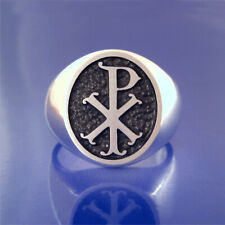 Chi Rho Ring - Old Fancy Style - Solid Sterling   (#58)