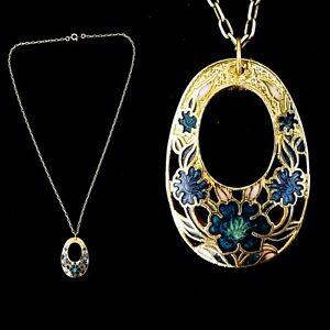 Vintage Cloisonne Blue Flower Enamel Pendant Necklace
