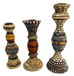 Candle Holders lot of 3 Handmade India 9 inch 7 inch and 6 1/2 inch sea Shells