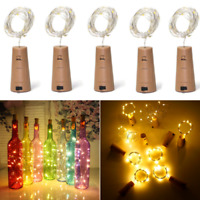 Warm Wine Bottle Cork Shape Light 20/30/50 LED Night Fairy String Lights Lamp AH