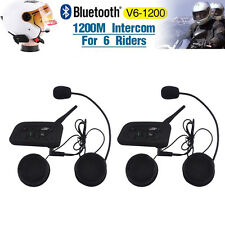 2 x 1200M Wireless Bluetooth Motorcycle Helmet Interphone Intercom 6 Riders New