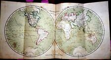 World, Asia, Europe, Amerika, Afrika, Australia, engraved map by Flemming,1852
