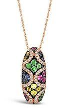 Colgante-Amarillo/Zafiro de Ceilán/Rosa, engarzada, White Diamonds - 14K Oro Rosa
