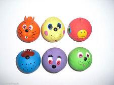 3 x squeaky Chien Jouets latex FACEBALL FACE Taille balle de tennis balle souple Chiot
