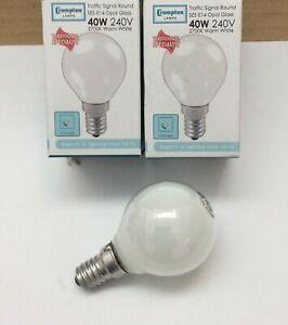 5 x Crompton 40w Watt E14 SES Opal Round Golfball Warm White Light Bulbs