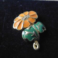 With New Back Pin. Small Orange Marigold Brooch,