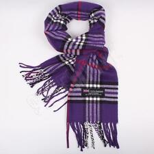 Men Women unisex 100%CASHMERE Purple Scarf tartan stripe Plaid SCOTLAND
