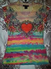 Takoni Tie Dye Floral Heart Diamonte Tattoo Top