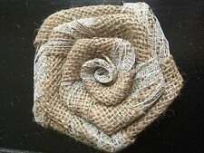 Natural Burlap and Lace Rose Flower Rustic Wedding Outdoor Table Shabby Chic