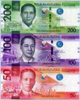 Philippines Set 3 Pcs 50 100 200 Pesos 2020 P 224 225 226 UNC