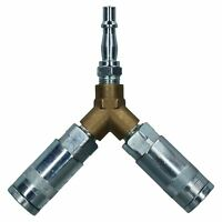 Airline Y Piece 3 Way Quick Release Fittings For Compressor Air Hose 1/4 BSP