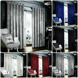 New beautiful Crushed Velvet Curtain pair With Ring Top Fully Lined Tie Backs