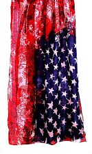 SCARF Long Woven Polyester Red White & Blue FLAG ABSTRACT PRINT