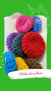 NEW!! Handmade Crochet 3pk Kitchen Nylon Scrubbies