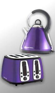 Russell Hobbs Kettle + Toaster - Purple - Heritage - Stainless Steel - New
