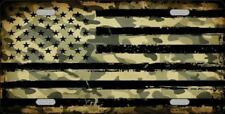 Camo American Flag Metal Novelty Front License Plate Tag