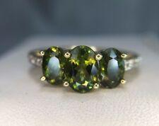 Estate 10k Yellow Gold Oval Dark Green Three Stone Ring Size 6.25
