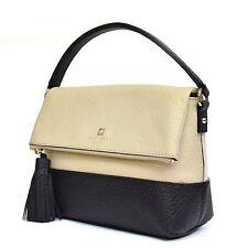 NWT Kate Spade Southport Avenue Maria Black Cream Pebbled Leather Satchel bag