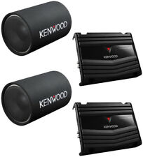 """2) Kenwood 12"""" 1200W Cylindrical Tube Subwoofer + 2 Channel 85W Car Amplifier"""