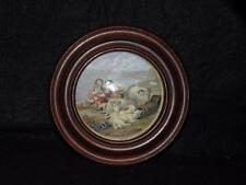 ANTIQUE STAFFORDSHIRE POT LID PEACE FRAMED WOODEN