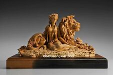 43 cm Chinese Boxwood Masterwork Women Girl Belle Lion Animal wood art sculpture