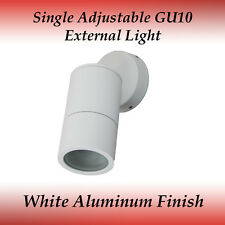 1 Light Single Adjustable IP65 GU10 External Wall Light in White