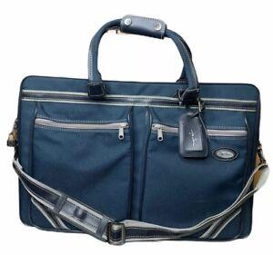 Vintage Oleg Cassini Airway Large Blue Luggage Travel Carry On Tote Bag 21 x 14