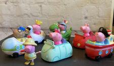 6 Peppa Pig Figures in Vehicles Boat Car Duck Swan Pepper Pig Cars Wheels