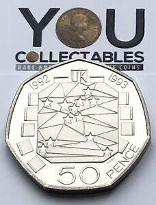 50p Fifty Pence Coin 1992 - 1993 Royal Mint European Presidency - RARE