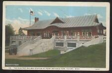 Postcard Tacoma Wa Point Defiance Electric Railway Depot/Station 1920's