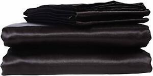HONEYMOON HOME FASHIONS Ultra Luxury and Soft Satin Full Bed Sheet Set - Black