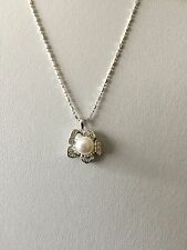 "Sterling Silver Fresh Water Pearl And Simulated Diamond Pendants With 18"" Chain"