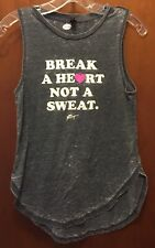 Woman BETSEY JOHNSON Performance gray Break Heart Sleeveless Shirt Sz XS EUC