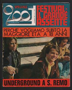 CIAO 2001 8/1970 SANREMO GENS MASSIMO RANIERI SHOCKING BLUE MOODY BLUES POSTER