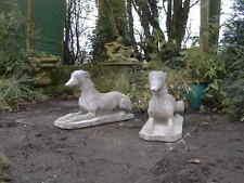 Pair Greyhound   statues   garden stone ornament  dog whippet