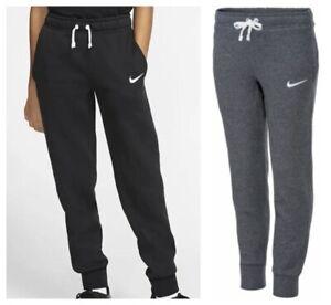 Nike Boys Kids Junior Joggers Jog Track Fleece Pant Black Tracksuit Bottoms NEW