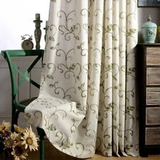 Cotton Linen Curtains Cloth Simple Embroidered Window Drapes Living Room Garnish