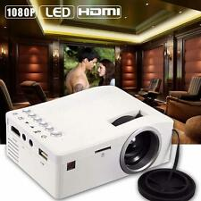 Portable Mini LED Projector Cinema Theater Laptop VGA USB SD AV HDMI White EU L@