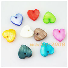 20 New Charms Natural Shell Loose Heart Flat Pendants 12mm Mixed