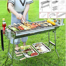 More details for stainless steel barbecue grill large outdoor folding portable camping picnic bbq
