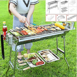 Stainless Steel Barbecue Grill Large Outdoor Folding Portable Camping Picnic BBQ