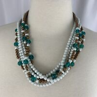 """Beaded Multi Strand Necklace Vintage Green Glass White Brown Gold Tone Bead 22"""""""