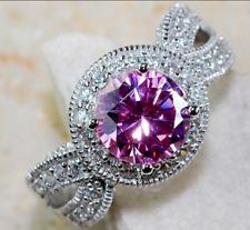 Beautiful Round Created Pink & White Sapphire Fashion Ring size 5