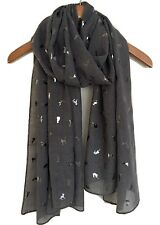 Señoras gato gris impresión bufanda Lámina Metálica Bufanda Envolvente Idea Regalo De Navidad