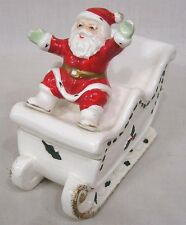 Vintage Christmas Norcrest Covered Sleigh Dish Santa Waves From Front Seat 1960s