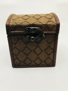 Vintage Arts Crafts Wooden Tightly Woven Wicker Antique Trinket Box with Clasp