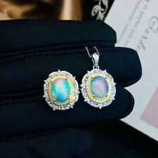 Natural Colored Opal 925 Sterling Silver Pendant Ring Set+925 Silver Chain Gift