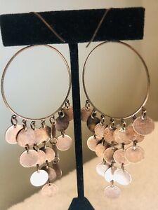 """Vintage Copper Cascade Disks Chandelier Earrings 4"""" Long. Boho"""