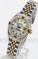 Rolex Ladies Datejust Gold & Steel MOP Emerald Diamond Dial Bezel Jubilee 2 Tone