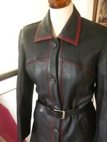 Ladies black red real leather JACKET COAT UK 14 12 belt retro 70s 60s long line